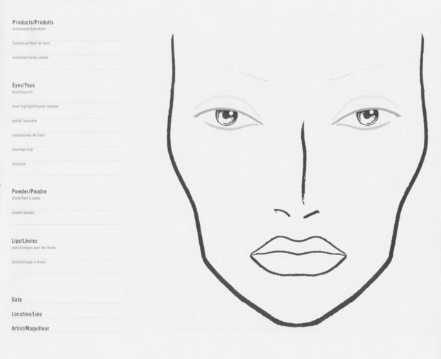 Blank MAC Face Charts | Makeup Anarchist
